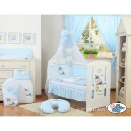 Lit et parure de lit bébé âne bleu