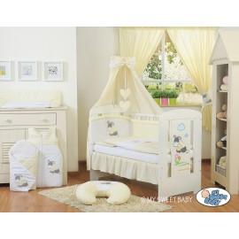 Lit et parure de lit bébé âne crème jaune