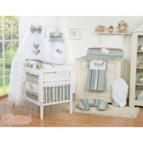 Parure de lit bébé deux coeurs rayée marron turquoise