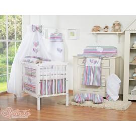 Parure de lit bébé deux coeurs rayée violet rose