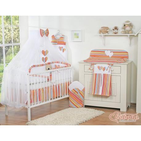 Parure de lit bébé deux coeurs rayée orange