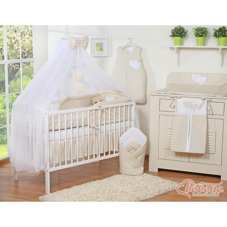 Parure de lit bébé deux coeurs crème à pois