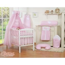 Parure de lit bébé deux coeurs rose à pois