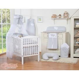 Parure de lit bébé deux coeurs gris