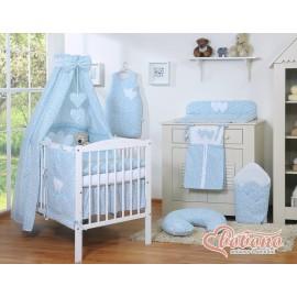 Parure de lit bébé deux coeurs fleurie bleu