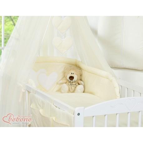 Parure de lit bébé deux coeurs crème