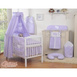 parure de lit deux c urs violet linge de lit b b. Black Bedroom Furniture Sets. Home Design Ideas