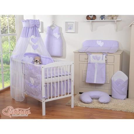 Parure de lit bébé deux coeurs violet