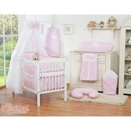 Parure de lit bébé deux coeurs rose et blanc vichy