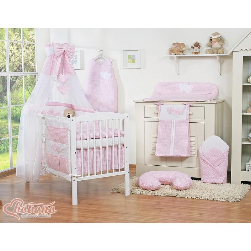 parure de lit deux c urs rose et blanc vichy linge de. Black Bedroom Furniture Sets. Home Design Ideas