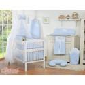 Parure de lit bébé deux coeurs bleu et blanc vichy