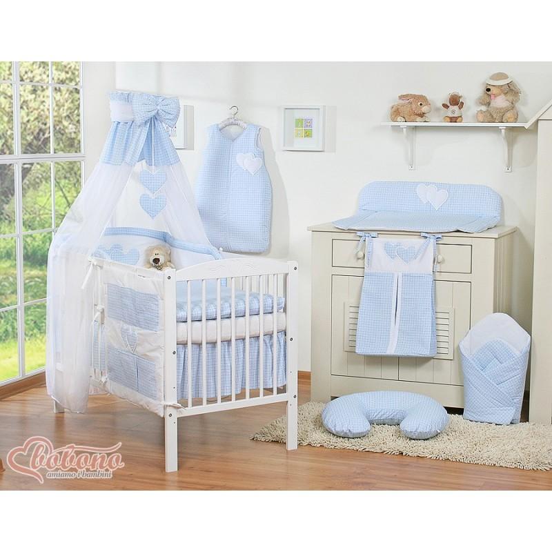 Parure de lit deux c urs bleu et blanc vichy linge de for Parure de lit bleu et blanc