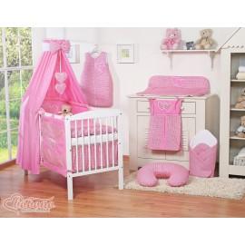 Parure de lit bébé deux coeurs fuschia vichy
