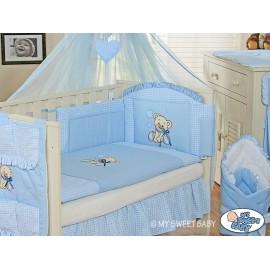 Parure de lit bébé complète ours teddy bleu