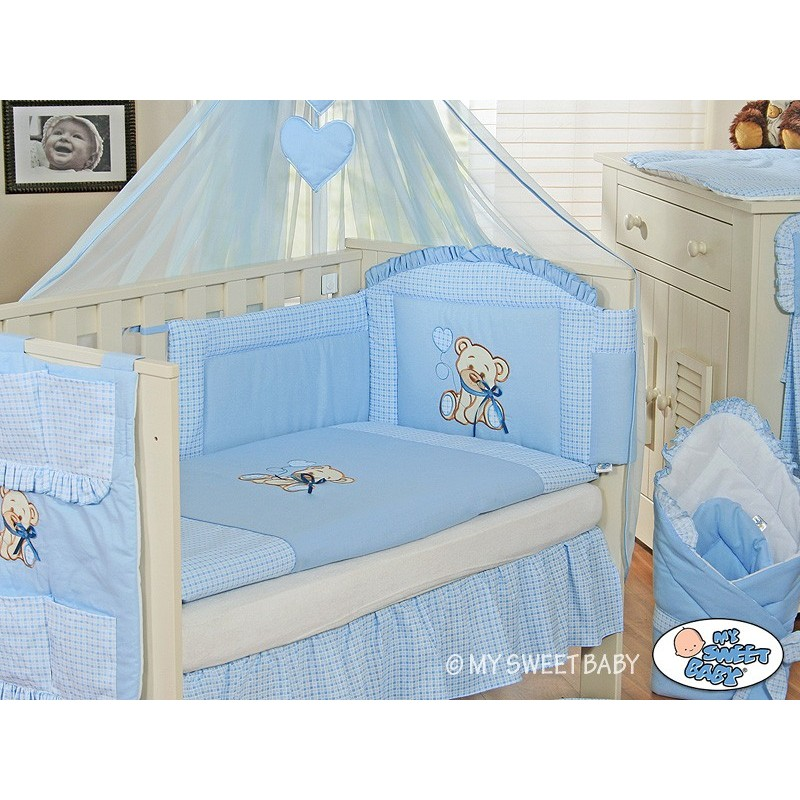 parure de lit b b compl te ours teddy bleu chambre b b. Black Bedroom Furniture Sets. Home Design Ideas