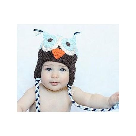 bonnet hibou pour bébé ciel et marron