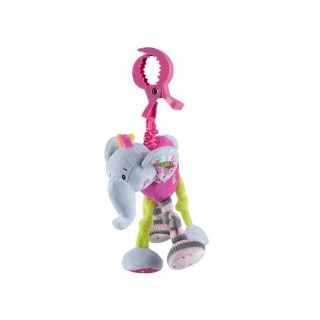 Peluche avec vibration éléphant pour poussette ou cosy