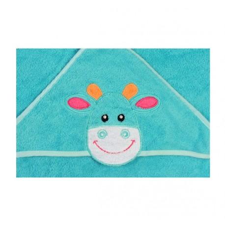 Serviette de bain avec capuche turquoise vache