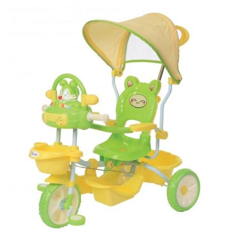 Tricycle évolutif vert pour enfant avec capote