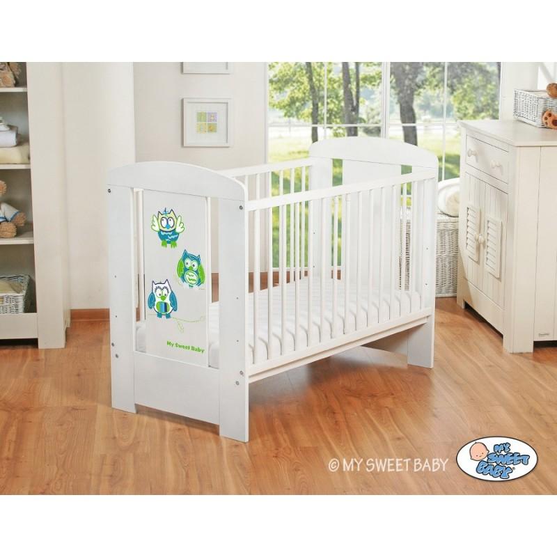 lit pour b b motif hibou bleu et vert achat vente lit enfant. Black Bedroom Furniture Sets. Home Design Ideas