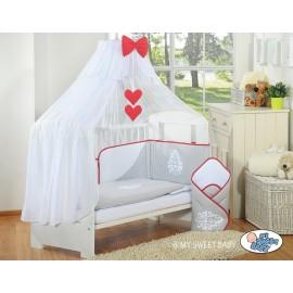Lit et parure de lit bébé complète Glamour gris et rouge