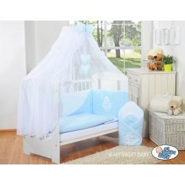 Lit et parure de lit bébé complète Glamour Bleu
