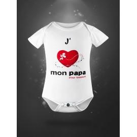 Body pour bébé en coton bio - j'aime mon papa