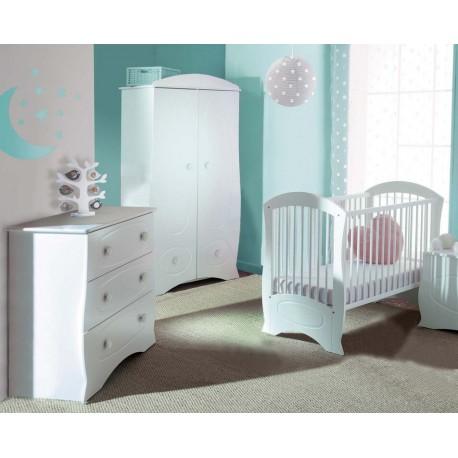 Lit pour bébé et commode blanc Perle