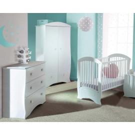 Lit à barreaux pour bébé et commode blanc Perle
