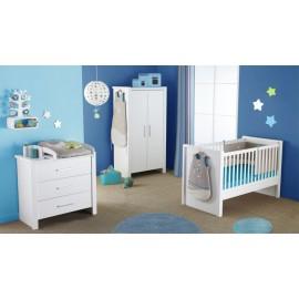Lit et commode 3 tiroirs pour bébé blanc Goa