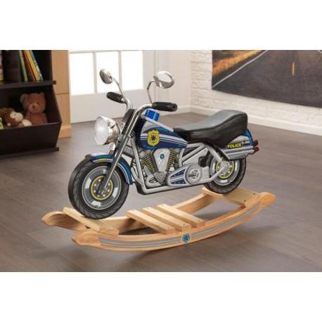 moto de police bascule bascule en bois pour b b. Black Bedroom Furniture Sets. Home Design Ideas