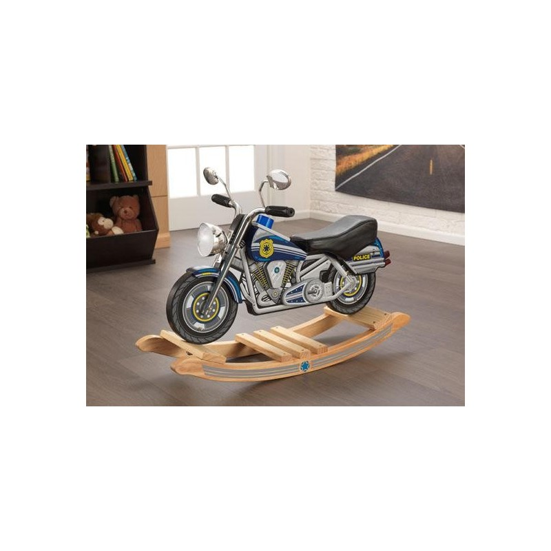 moto de police bascule bascule en bois pour b b. Black Bedroom Furniture Sets. Home Design Ideas