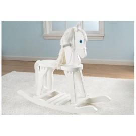 Cheval à bascule blanc en bois