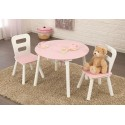 Ensemble table pour enfant ronde rose et ses 2 chaises