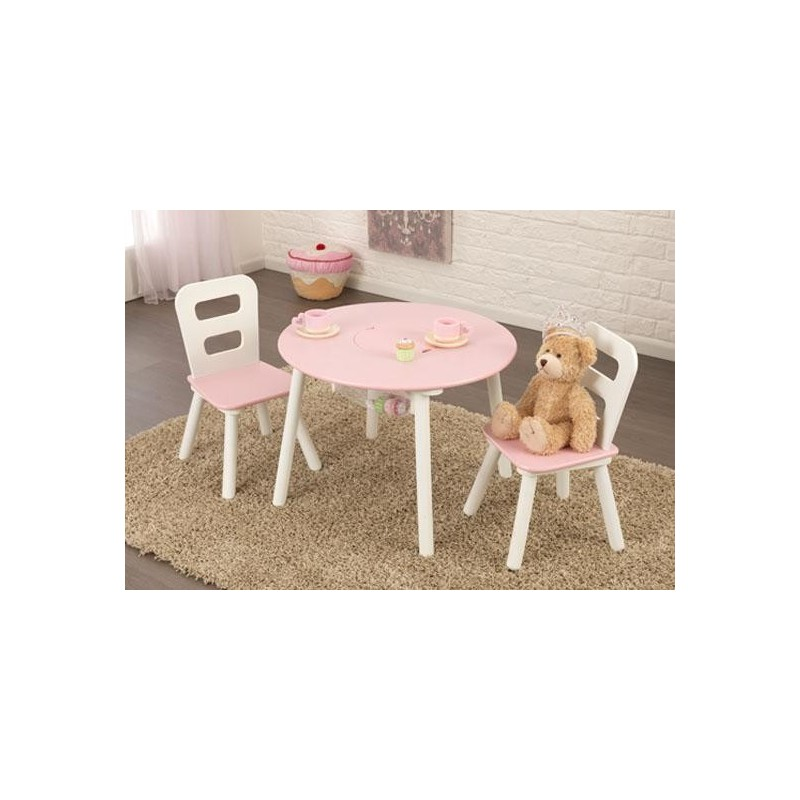 ensemble table ronde pour enfant et ses 2 chaises. Black Bedroom Furniture Sets. Home Design Ideas