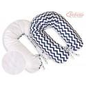 Coussin d'allaitement double face éclair bleu marine et blanc