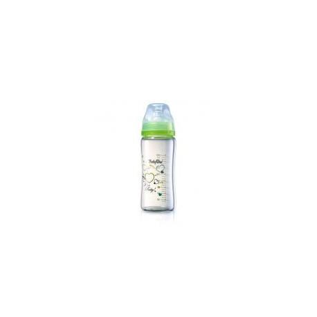 Biberon en verre coeur 260 ml vert