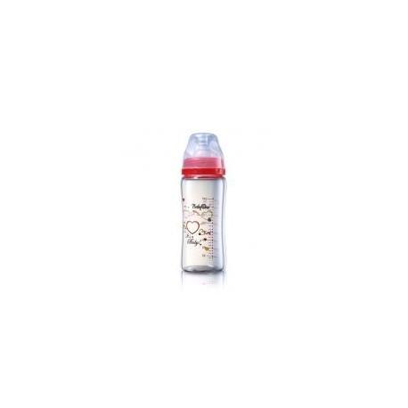 Biberon en verre coeur 260 ml rouge