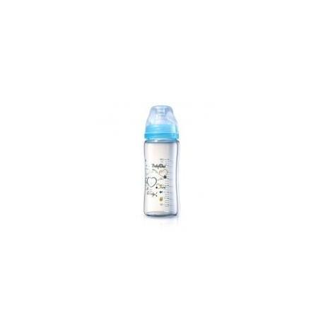 Biberon en verre coeur 260 ml bleu