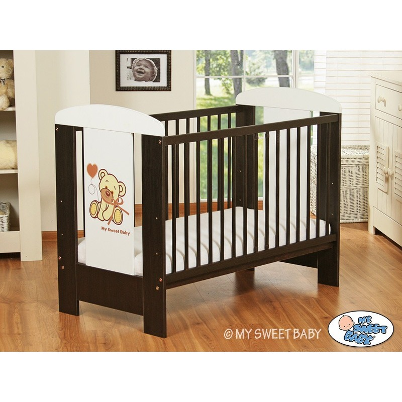 lit pour b b en bois motif ourson brun lit enfant avec. Black Bedroom Furniture Sets. Home Design Ideas