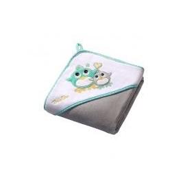 Serviette de bain avec capuche grise hibou