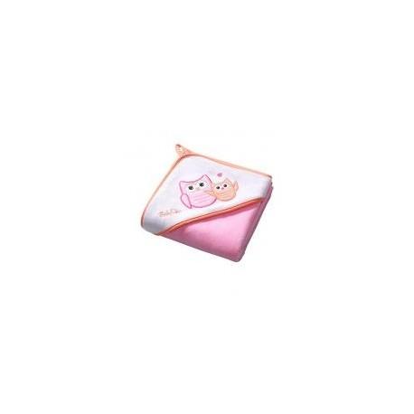 Serviette de bain avec capuche rose hibou