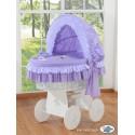 Berceau et parure complète Vichy violet châssis blanc