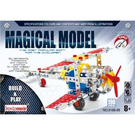 Avion biplane en métal pour enfants - 190 pièces à assembler