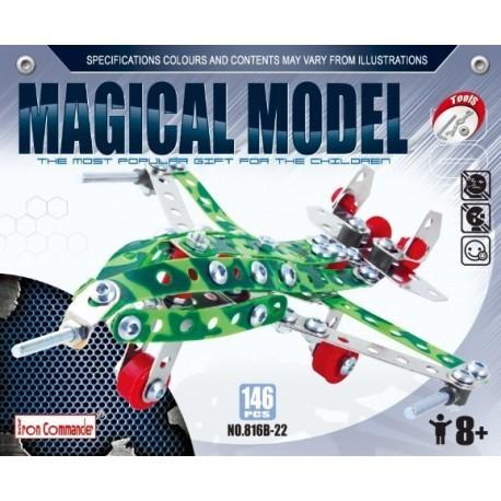 Avion chasseur en métal pour enfants - 146 pièces à assembler