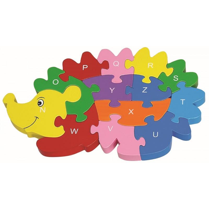 puzzle en bois h risson pour enfant 12 pi ces alphabet. Black Bedroom Furniture Sets. Home Design Ideas