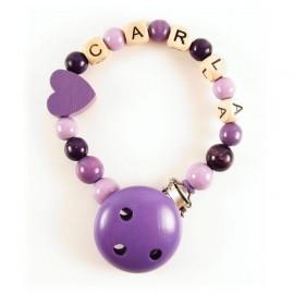 Attache tétine personnalisable coeur violet
