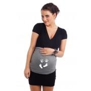 Bandeau de grossesse Mains et Pieds gris