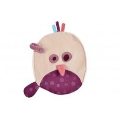 Doudou ovale avec attache sucette birdy